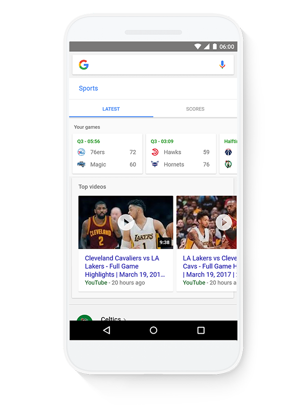 Google Tappable shortcuts sports image