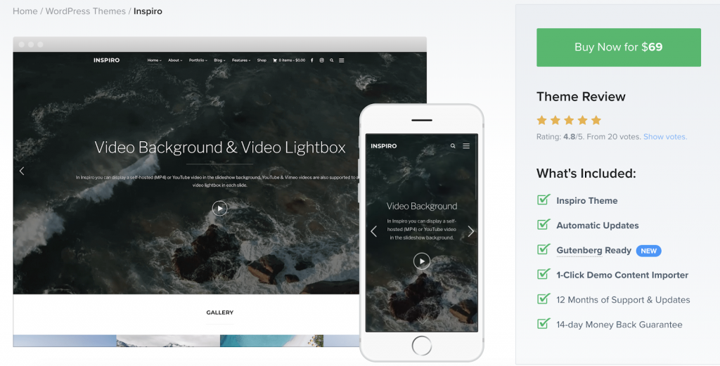 Inspiro is a video theme that is built for professional videographers and photographers.