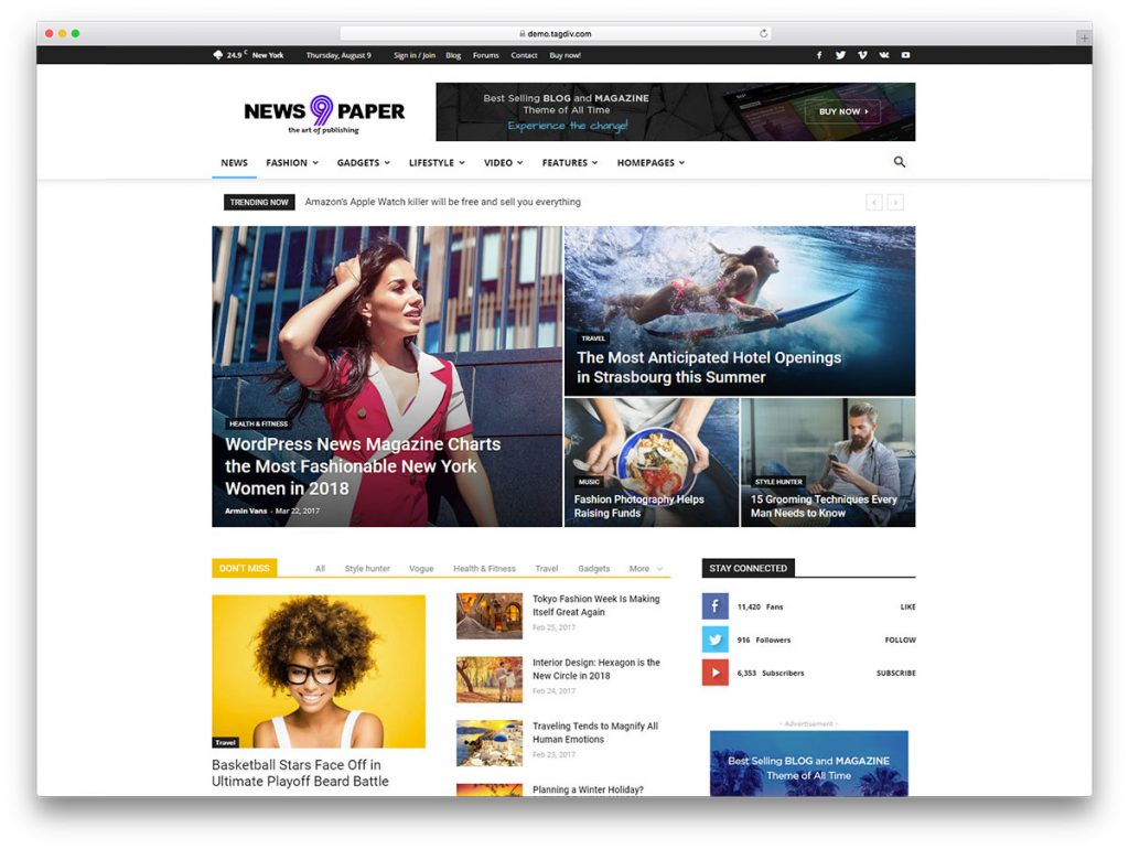 The Newspaper theme is excellent for news, magazines, publishing and review sites.