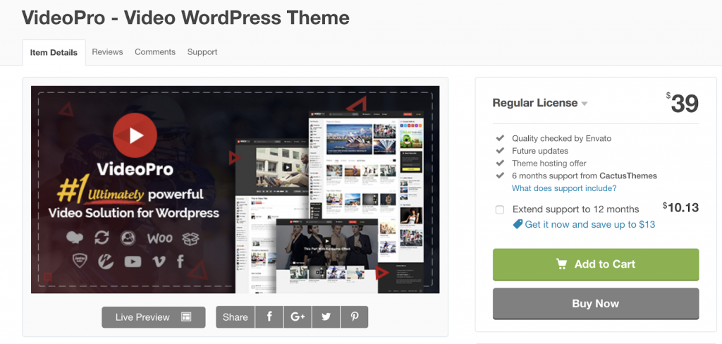 VideoPro is a creative video theme with a responsive design.