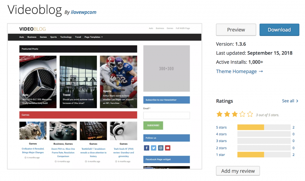 Videoblog is a blog and magazine video theme.